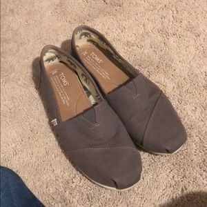 Toms gray slip on shoes size 7